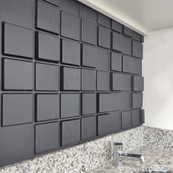 Placas 3D AutoAdesiva 50 x 50 Preta Pixel